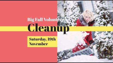 Cleanup Announcement with Woman clearing Snow FB event cover – шаблон для дизайна