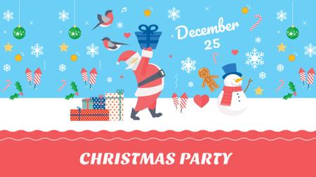 Christmas Party Announcement with Cute Santa FB event cover – шаблон для дизайну