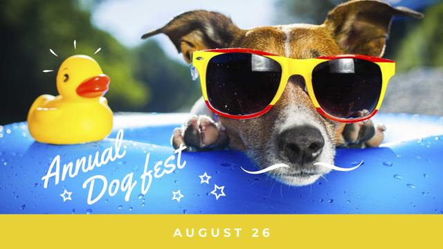 Dog fest announcement Puppy in Pool FB event cover Modelo de Design