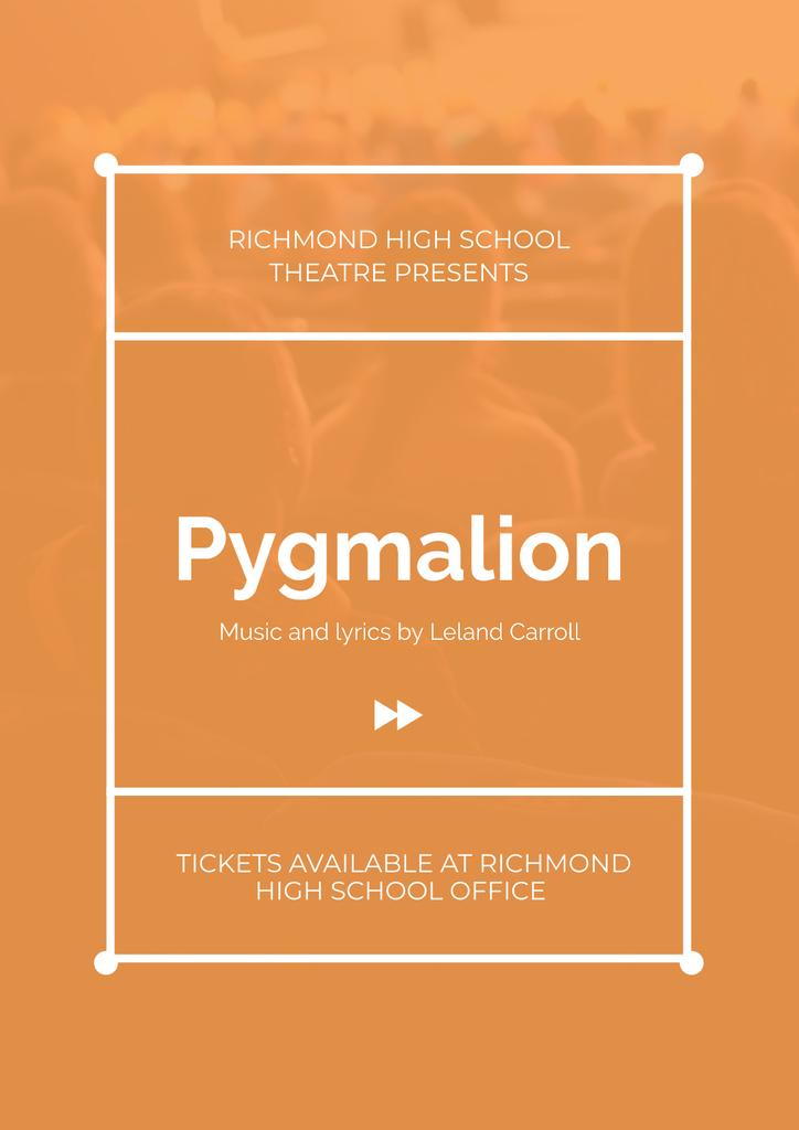 Pygmalion playing with audience in theater — Modelo de projeto