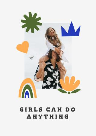 Girl Power Inspiration with Woman holding Happy Child Poster – шаблон для дизайна