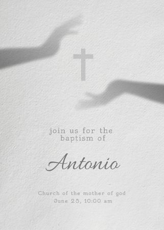 Designvorlage Baby Baptism Announcement with Christian Cross für Invitation