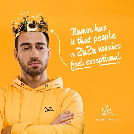 Modèle de visuel Fashion Ad with Funny Man in Crown - Instagram