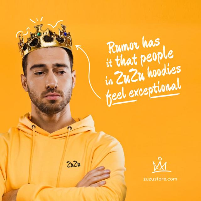 Fashion Ad with Funny Man in Crown Instagram Design Template