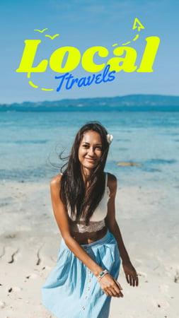 Plantilla de diseño de Local Travels Inspiration with Young Woman on Ocean Coast Instagram Story