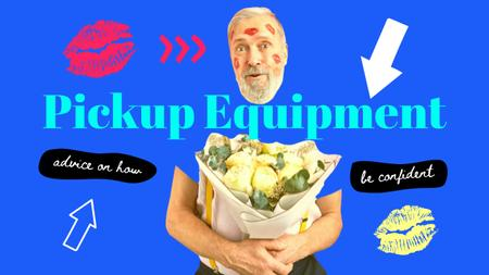 Designvorlage Blog Promotion with funny Elder Man with Flowers Bouquet für Youtube Thumbnail