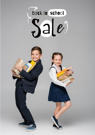 Ontwerpsjabloon van Poster van Back to School Sale Offer with Cute Pupil Boy