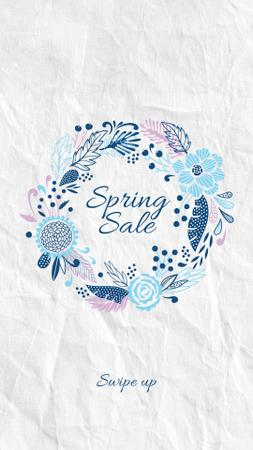 Spring Sale Flowers Wreath in Blue Instagram Storyデザインテンプレート