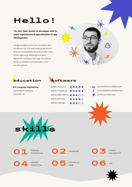 Ontwerpsjabloon van Resume van Web Developer skills and experience