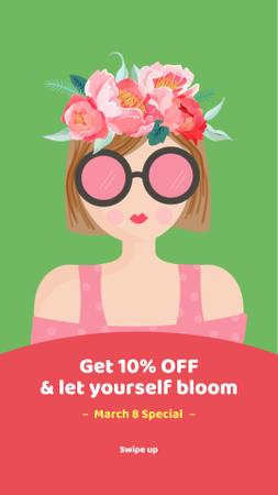 Woman in wreath for March 8 sale Instagram Story – шаблон для дизайну