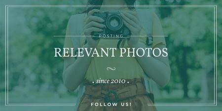 Photo Blog Ad with Woman with Vintage Camera Twitter Modelo de Design
