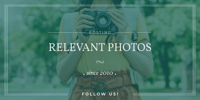 Photo Blog Ad with Woman with Vintage Camera Twitter – шаблон для дизайна