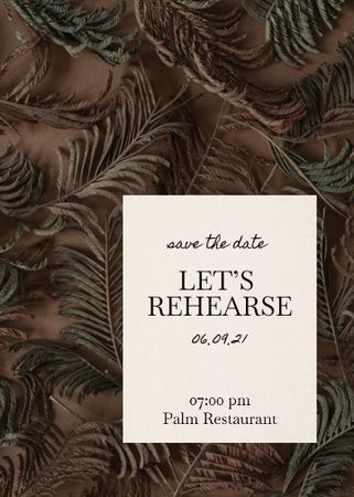 Template di design Rehearsal Dinner Announcement with Exotic Leaves Invitation