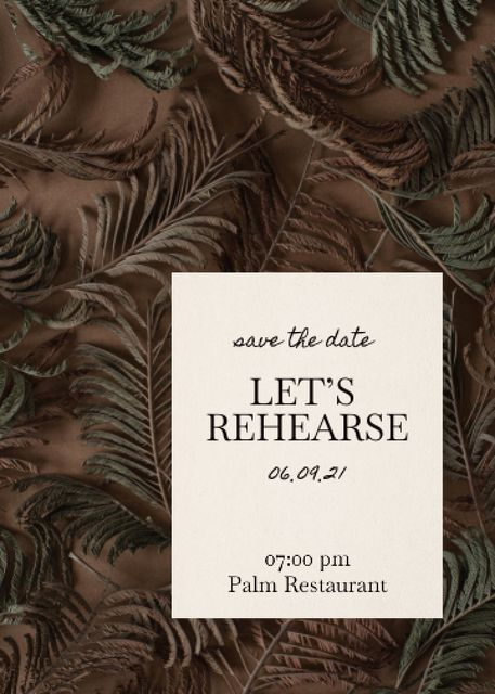 Rehearsal Dinner Announcement with Exotic Leaves Invitation – шаблон для дизайна