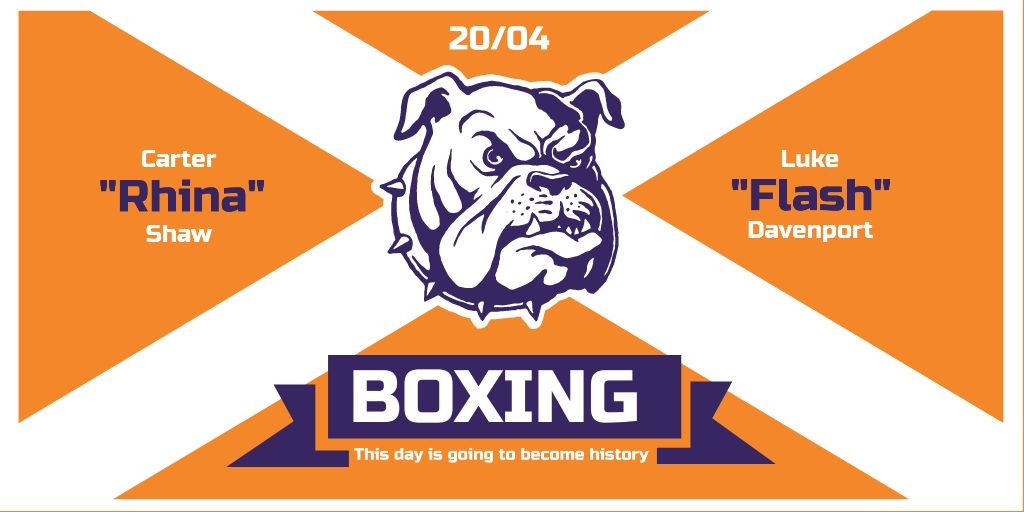 Boxing Match Announcement with Bulldog on Orange —デザインを作成する