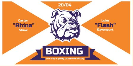 Boxing Match Announcement with Bulldog on Orange Twitterデザインテンプレート