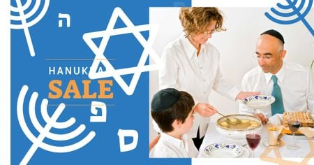 Template di design Hanukkah Sale with Traditional Dinner Facebook AD
