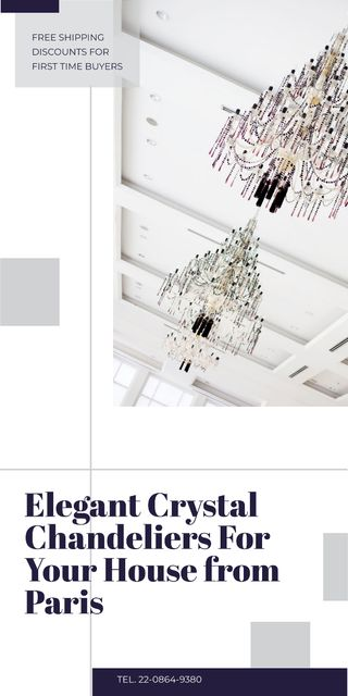 Elegant crystal Chandelier offer Graphicデザインテンプレート