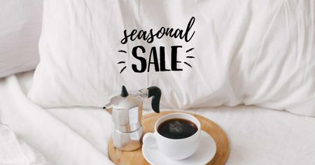 Template di design Sale offer with Coffee in bed Facebook AD