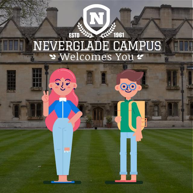 Friendly students welcoming you by campus Animated Post Modelo de Design