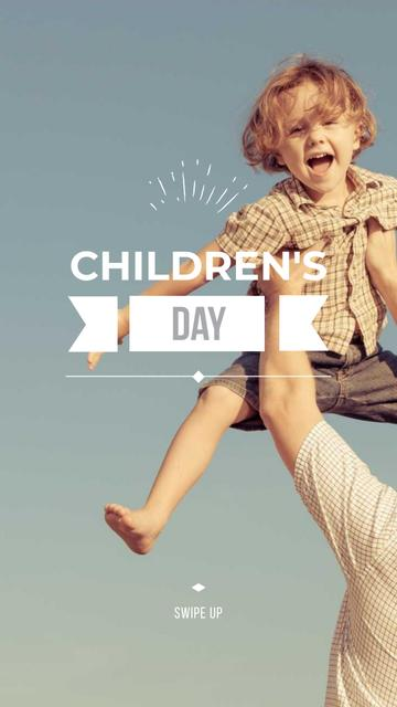 Children's Day Celebration Announcement with Happy Kid Instagram Story Modelo de Design