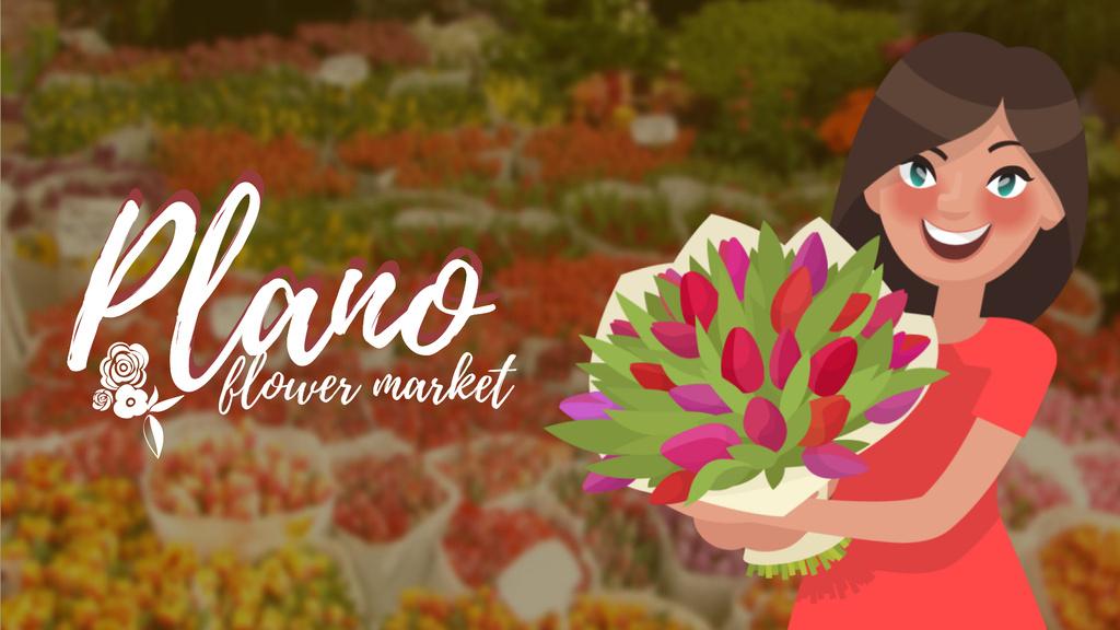 Florist Services Girl Holding Flowers Bouquet — Modelo de projeto