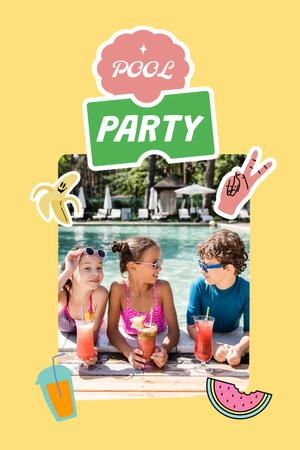 Pool Party Invitation with Kid eating Watermelon Pinterest Design Template