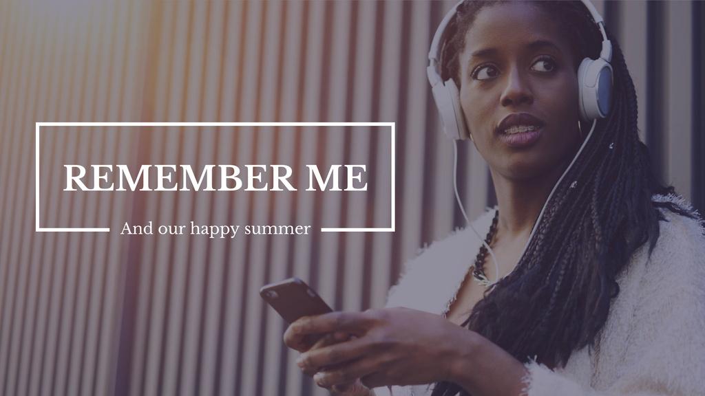 Woman Listening Music in Headphones — Maak een ontwerp