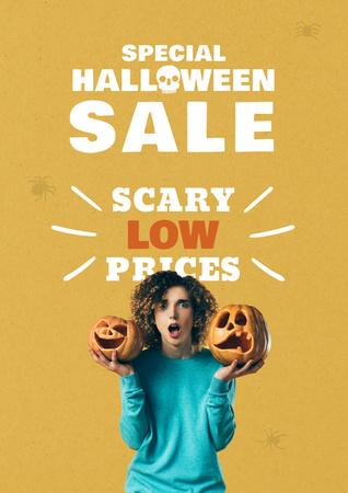 Halloween Sale with Girl holding Pumpkins Poster – шаблон для дизайну