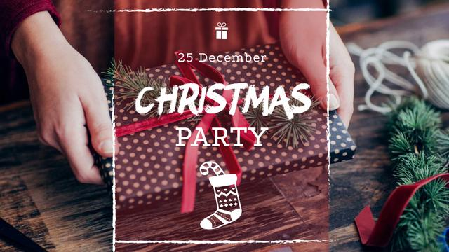 Christmas Party Announcement with Woman Wrapping Gift FB event cover Modelo de Design