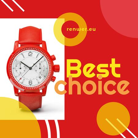 Modern Red Watch promotion Instagram AD Tasarım Şablonu