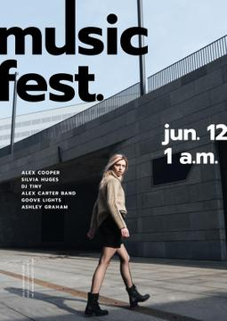 Music Fest announcement with Girl on street