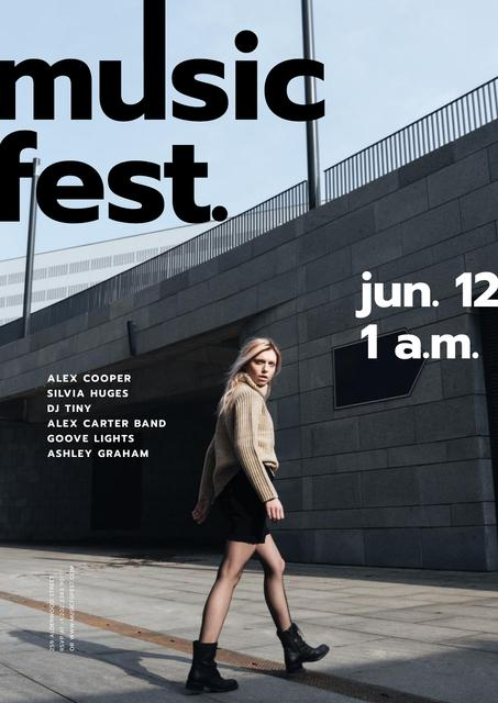 Music Fest announcement with Girl on street Poster Modelo de Design