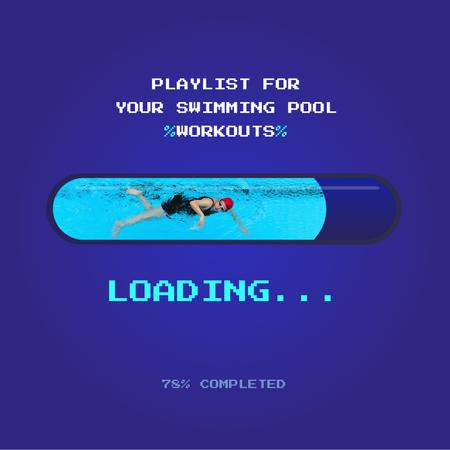 Playlist for Swimming Pool with Swimmer Album Cover Modelo de Design
