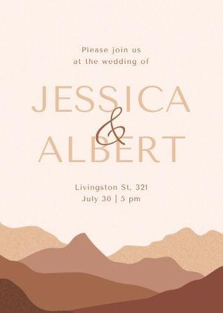 Wedding Day Announcement with Desert Mountains Invitation – шаблон для дизайну
