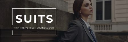 Business suits sale with Stylish Woman Email header – шаблон для дизайну