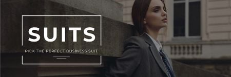 Modèle de visuel Business suits sale with Stylish Woman - Email header