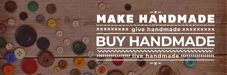 Plantilla de diseño de banner for handicrafts store with buttons Twitter