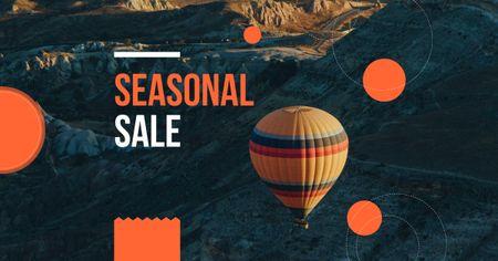 Seasonal Sale Announcement with Hot Air Balloon Facebook AD Design Template