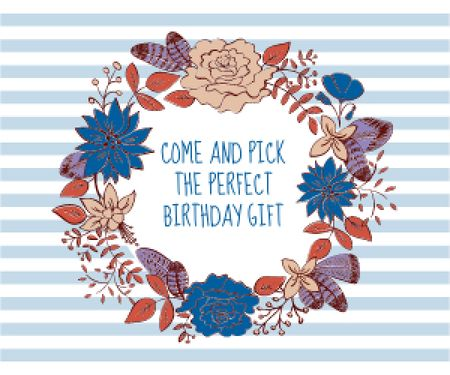 Happy birthday greeting card Medium Rectangle Tasarım Şablonu