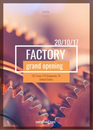 Factory Opening Announcement Mechanism Cogwheels Flayer Tasarım Şablonu