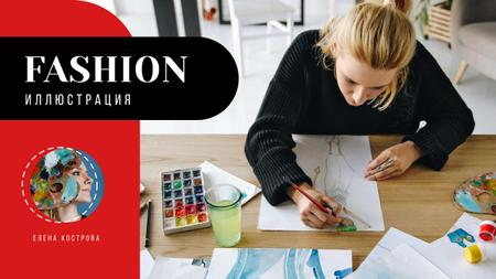 Fashion Illustration Classes Designer with Collection Drawings Youtube Thumbnail – шаблон для дизайна