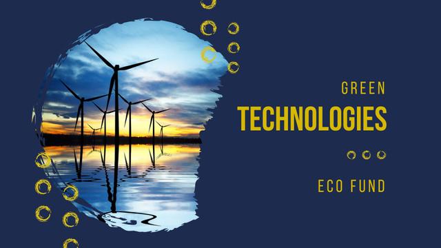 Green Technologies Ad with Wind Turbines FB event cover Modelo de Design