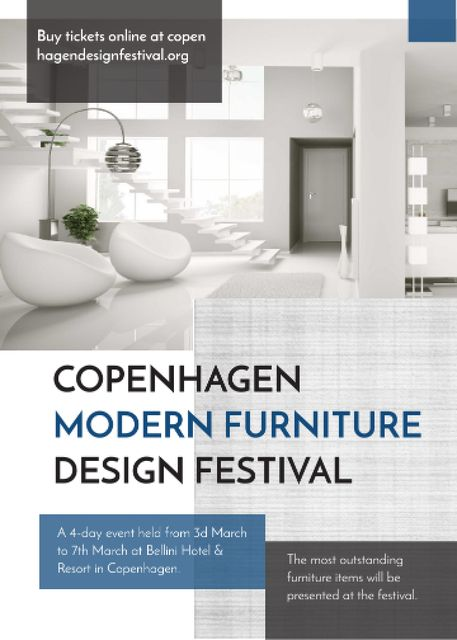 Furniture Festival ad with Stylish modern interior in white Invitation Tasarım Şablonu