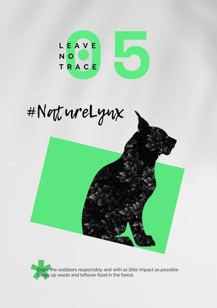 Modèle de visuel Fauna Protection with Wild Lynx - Poster
