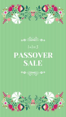 Passover Sale Announcement with Flowers Illustration Instagram Story – шаблон для дизайну