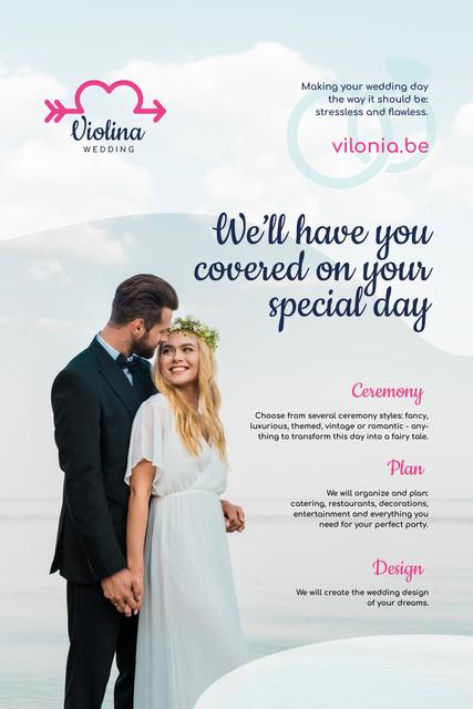 Platilla de diseño Wedding Planning Services with Happy Newlyweds Pinterest