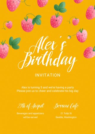 Template di design Birthday Party Announcement with Falling Raspberries Invitation