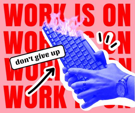Ontwerpsjabloon van Facebook van Funny Joke about Work with Burning Keyboard