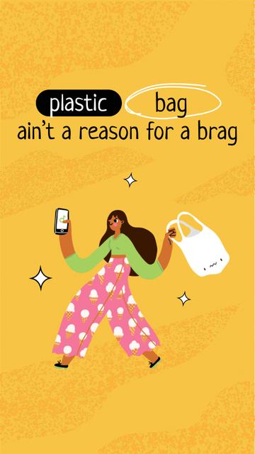 Template di design Eco Concept with Girl holding Plastic Bag Instagram Story